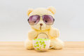 Teddy bear and coffee cup Royalty Free Stock Photo