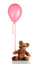 Teddy bear with colorful balloon Stock Images