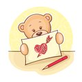 Teddy Bear with drawing heart Royalty Free Stock Photography