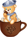 Teddy bear drinking hot coffee Royalty Free Stock Photography