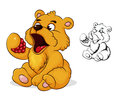 Teddy bear eats raspberries cartoon eating Royalty Free Stock Images