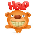Teddy bear emoji character with hello title