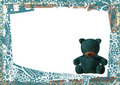 Teddy bear empty greeting card frame Stock Photography