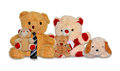 Teddy bear family toys collection of which the father wearing tie a complete of with one son one daughter and a Royalty Free Stock Photography