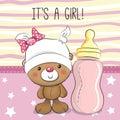 Teddy bear with feeding bottle