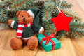 Teddy bear with gift for Christmas, spruce branches and red star Royalty Free Stock Photo