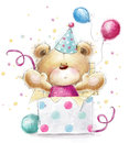 Teddy bear with the gift.Happy Birthday card Royalty Free Stock Photo