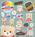 Teddy bear gift tag/labels Stock Photo