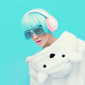 Teddy Bear Girl DJ on a blue background. crazy party. Club dance Royalty Free Stock Photo