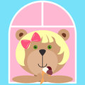 Teddy bear girl with ice cream looking out of the window. Flat icon. Colorful summer mood avatar with funny girl. Vector