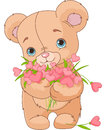 Teddy bear giving hearts bouquet Stock Photo
