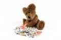 Teddy Bear With Grocery Coupons Royalty Free Stock Images