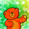 Teddy bear hand drawn illustration of a with floral background Stock Images
