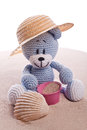 Teddy bear with hat on the beach and pink basket Stock Photos