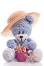 Teddy bear with hat on the beach and pink basket Royalty Free Stock Photo