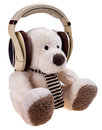 Teddy bear with headphones isolated on a white background Stock Image