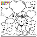 Teddy bear and heart balloons in the sky coloring book page Royalty Free Stock Photo