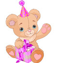Teddy bear holding gift cute pink box Stock Photography