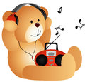 Teddy bear listening to music with headphones and scalable vectorial image representing a player isolated on white Stock Photo