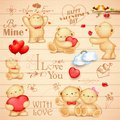 Teddy bear for love background illustration of in different pose Royalty Free Stock Photos