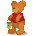 Teddy bear with pail in red T-short Royalty Free Stock Photo