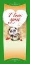 Teddy Bear Panda congratulates Happy Valentine's Day Royalty Free Stock Photo