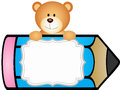 Teddy bear with pencil personalized label sticker
