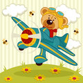 Teddy bear pilot fly on a airplane vector illustration Royalty Free Stock Photos