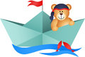 Teddy bear pirate in a boat scalable vectorial image representing isolated on white Royalty Free Stock Image
