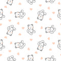 Teddy bear plush seamless vector pattern.