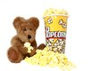 Teddy Bear With Popcorn Movie Snack Stock Image