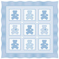 Teddy Bear Quilt, Baby Blue pastel Stock Photography