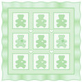 Teddy Bear Quilt, Pastel Green Stock Image