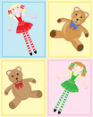 Teddy bear and rag doll Stock Photos