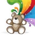 Teddy bear with rainbow