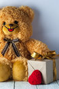 Teddy bear, red heart and gift box Royalty Free Stock Photo