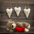 Teddy Bear with Red Heart Pillow. Valentines Day Royalty Free Stock Photo