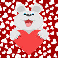 Teddy bear with red heart vector illustration Royalty Free Stock Photography