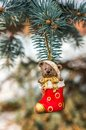 Teddy bear and red sock, Christmas concept Royalty Free Stock Photo