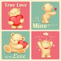 Teddy bear in retro love background illustration of Stock Image