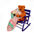 Teddy Bear and Rocking Chair Stock Images