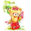 Teddy bear and school background