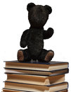 Teddy bear sit on a pile of books. Royalty Free Stock Photo