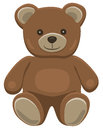 Teddy bear sitting basic brown in solid colors on white Stock Photography