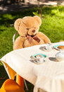 Teddy bear sitting behind table and drinking tea Royalty Free Stock Photo