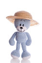 Teddy bear with sun hat in summer blue Stock Images