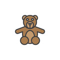 Teddy bear toy filled outline icon, line vector sign, linear colorful pictogram.