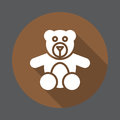 Teddy bear toy flat icon. Round colorful button, circular vector sign with long shadow effect.