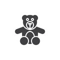 Teddy bear toy icon vector, filled flat sign, solid pictogram isolated on white.