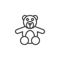 Teddy bear toy line icon, outline vector sign, linear style pictogram isolated on white.